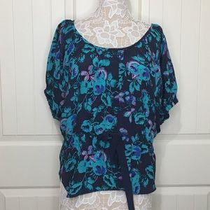 Rebecca Taylor Floral Dolman Silk Blouse